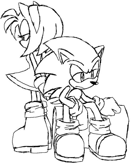 sonic x amy coloring pages - photo#2