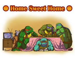 TMNT sharing a kotatsu