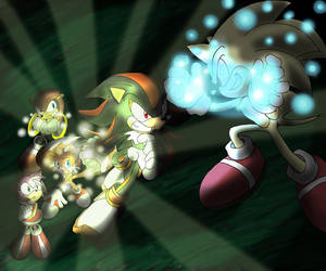 Tails-Shadow vs Evil Sonic by Tigerfog