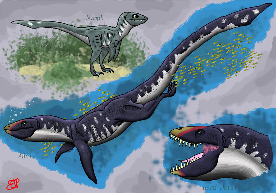 The Aquatic Dinosaur by AlbinoOctopus