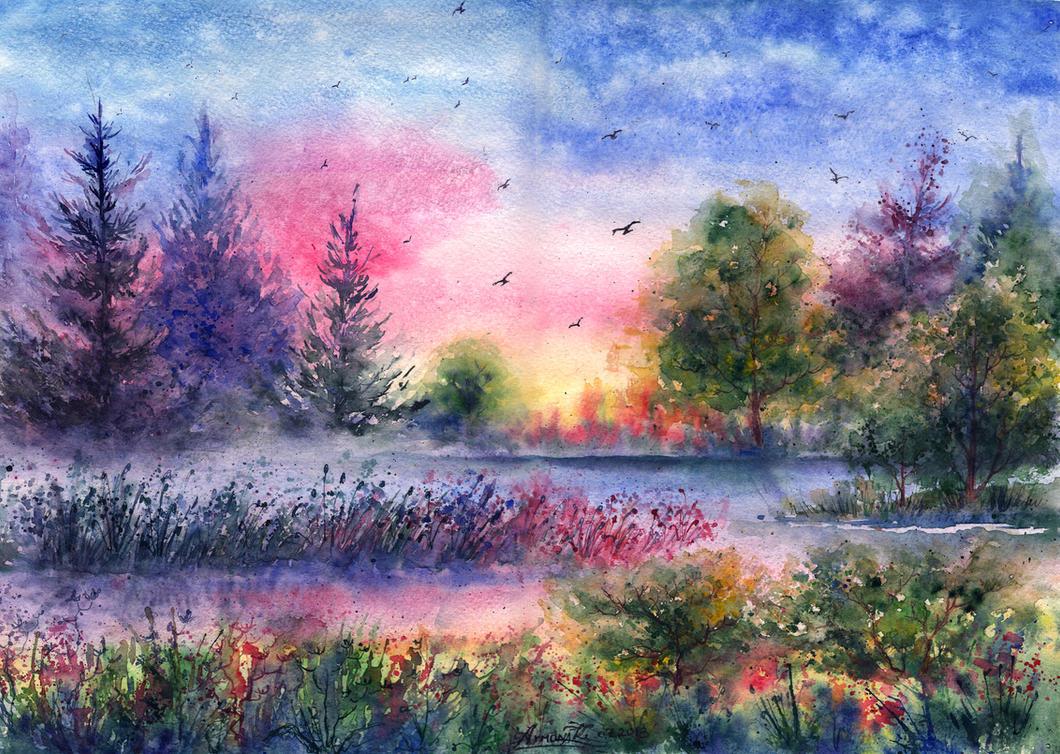 Картинки акварели лета