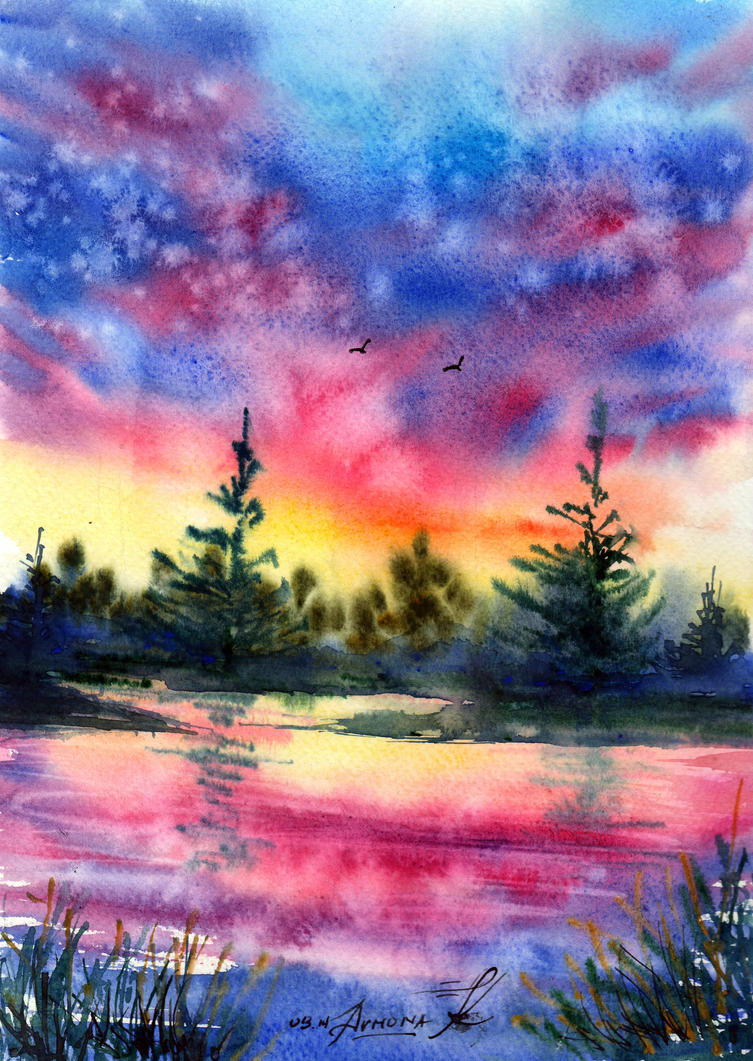 Birds over the river by AnnaArmona