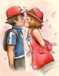 Serena x ash kiss