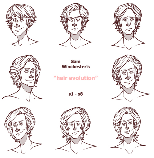 Hairstyle Evolution : the Evolution of Sam Winchesters Hair by PotatoCrisp on DeviantArt