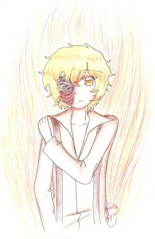 Burning face by Lyona-dono