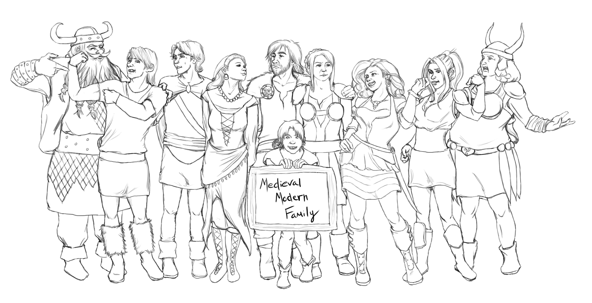 modern family coloring pages | Medieval Modern Family by AvannaK on DeviantArt