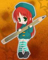 Chibi with Pencil by pretty-chibi7