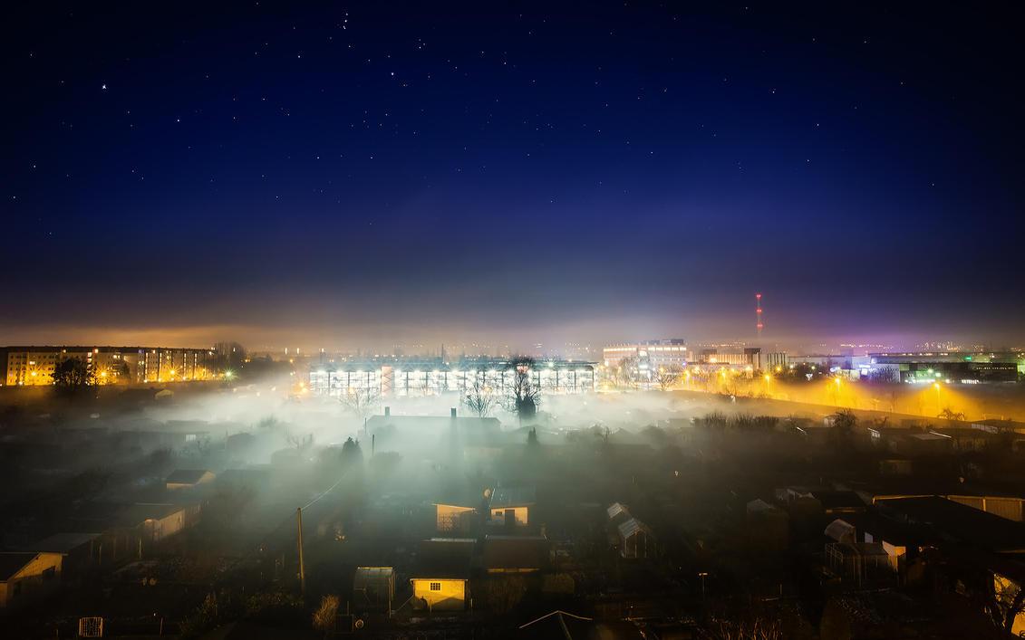 Foggy night in Dresden by Torsten-Hufsky