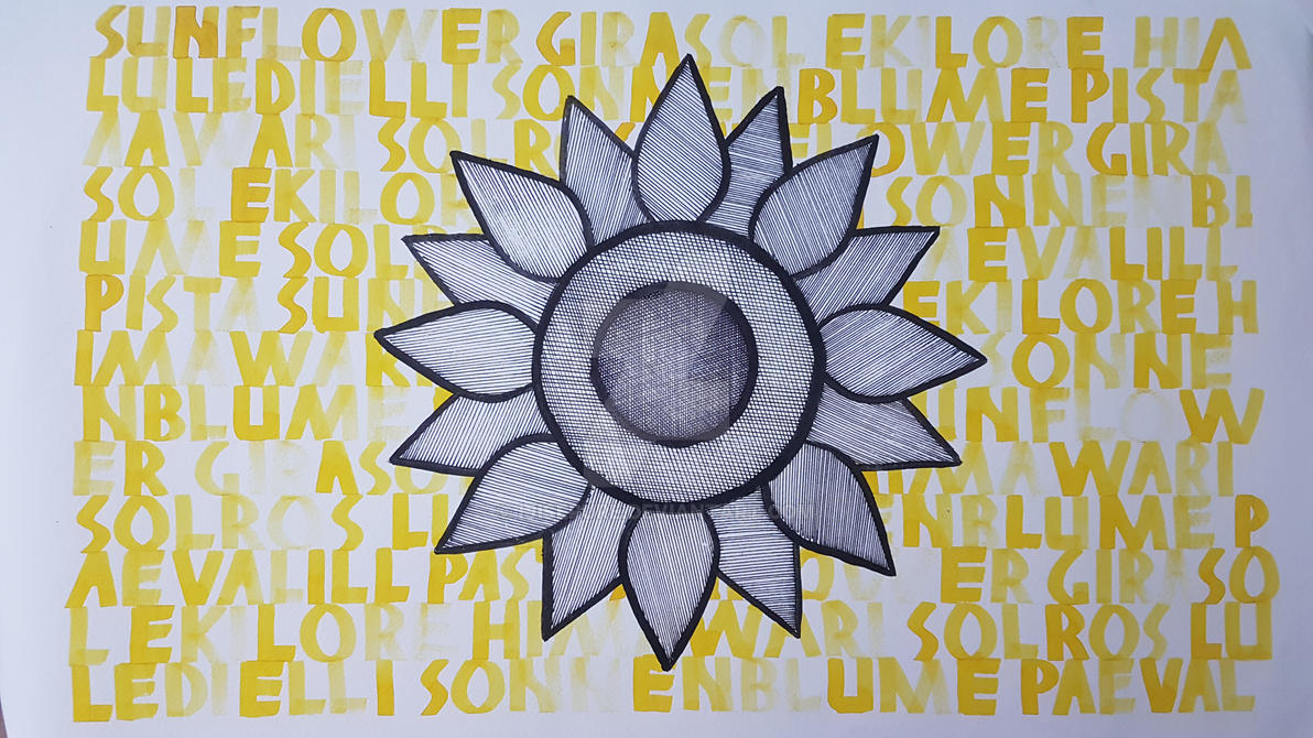 Art Project: Yellow Sunflower Calligraphy by Ijiserure