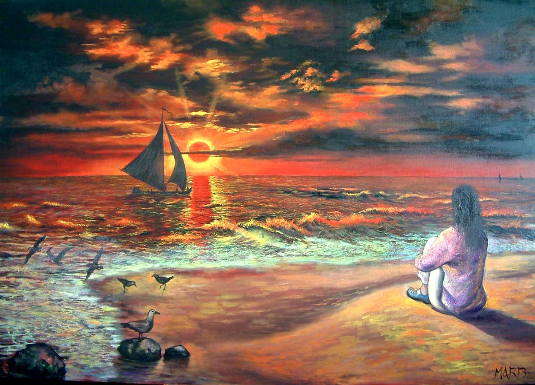 Sunset In The Ocean by PINCELdeDALI