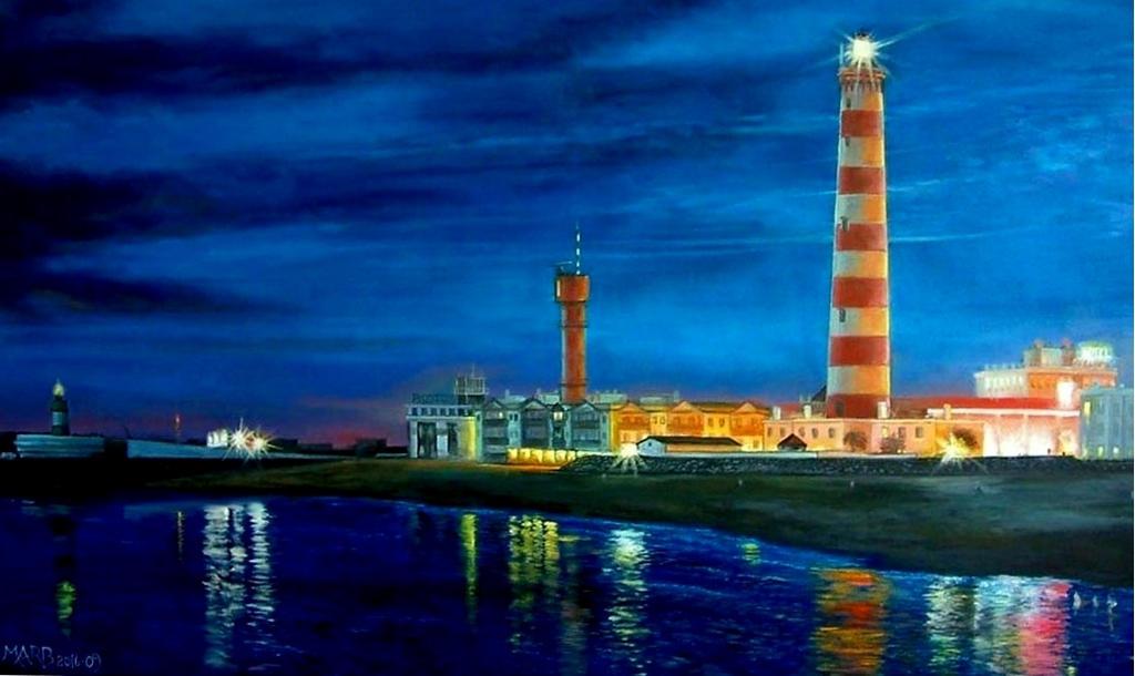 Lighthouse Beach BARRA, at night-PORTUGAL AVEIRO by PINCELdeDALI
