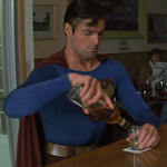 Superman drinking by BlueWolfSoul