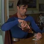 Superman drinking by BlueWolfSoul