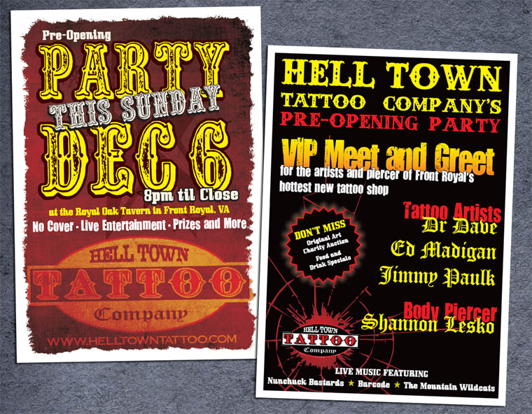 HellTownTattooCo. Postcard by RaceyGraphics