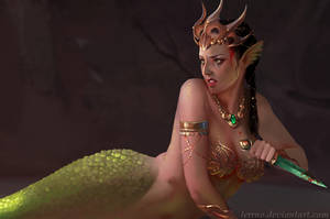 priestess from mermaid temple by Lerrno