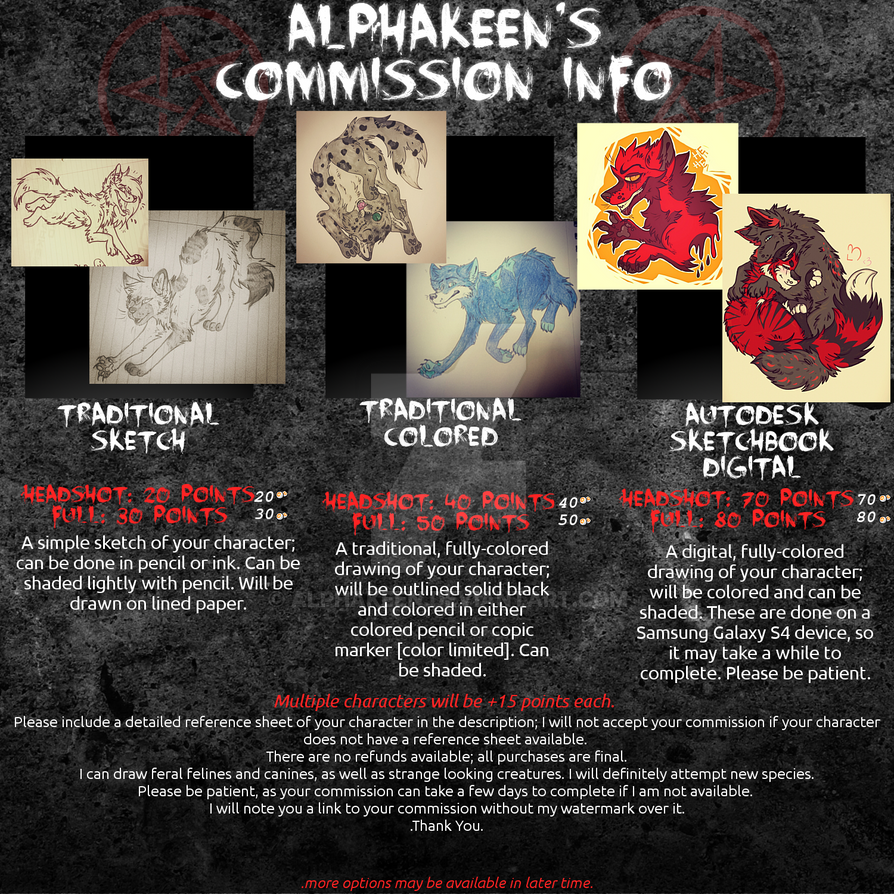 .:Commission Info summer 2015:. by alphakeen