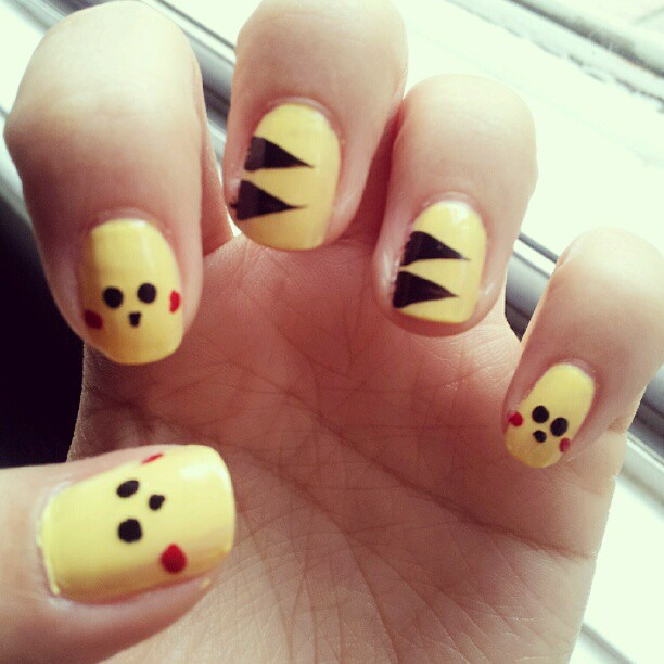 Pikachu Acrylic Nails Pikachu Nails by Aegimato on