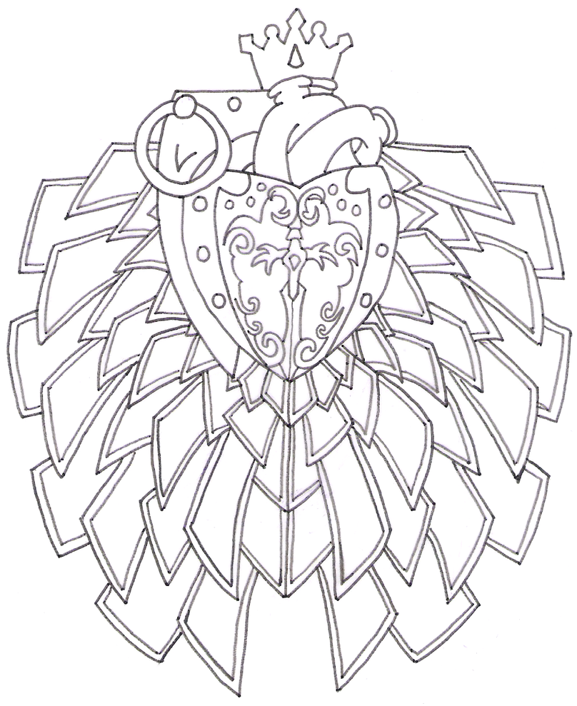Heart Grenade Tattoo Outline Requesting Colour By