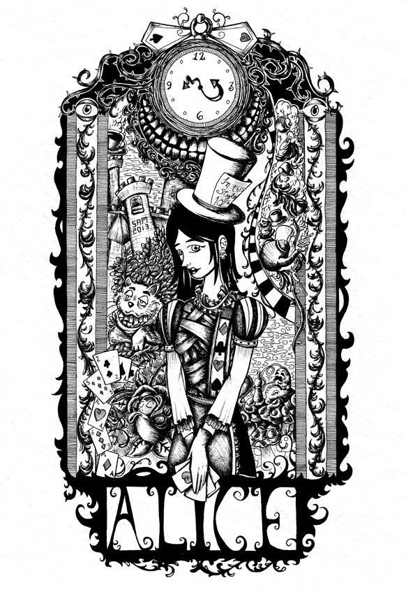 Alice in Wonderland by inkarts