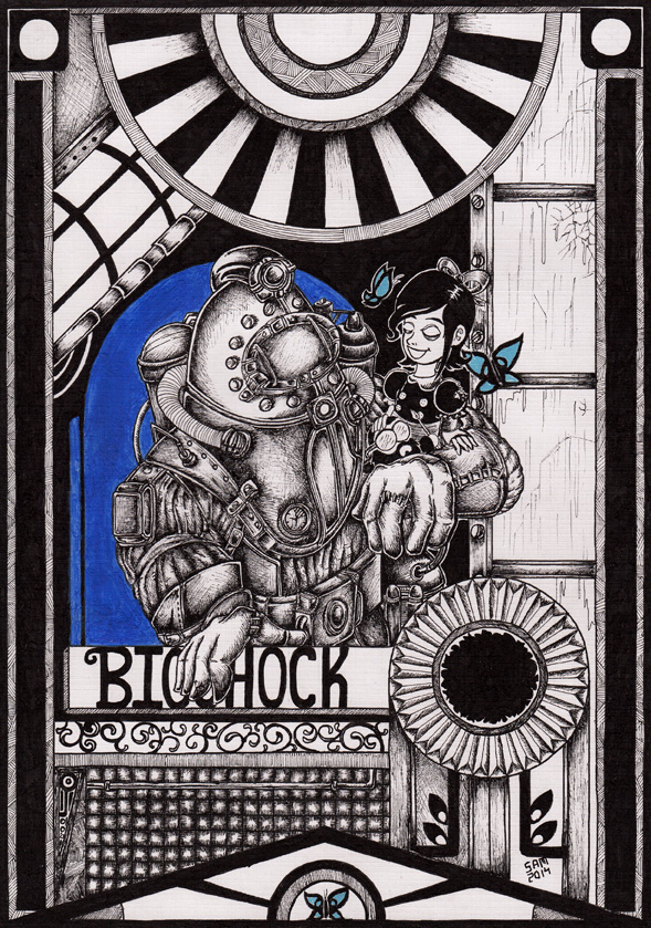 Bioshock art - Biggy Daddy and Little Sister by inkarts