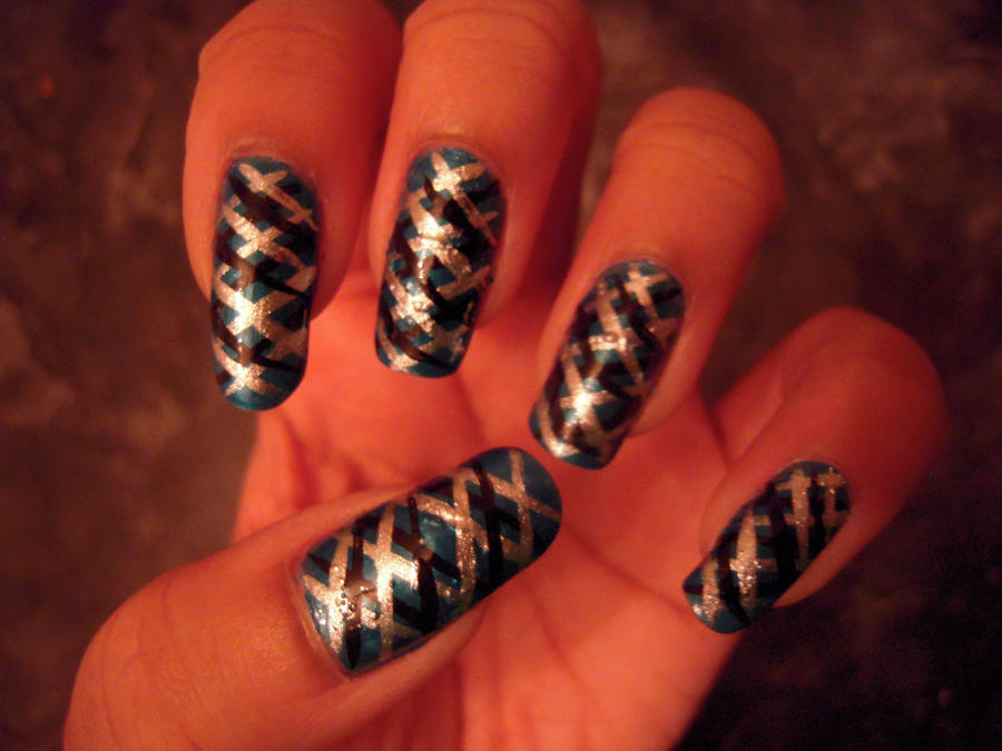Nail Art Black And Silver : Blue black and silver nail art by s fulcreations on deviantart