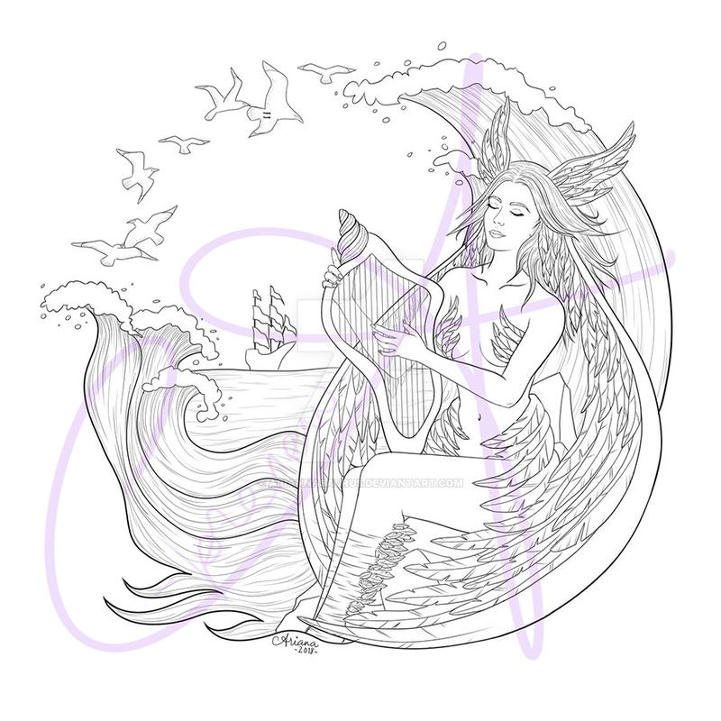 The Siren Coloring Page (Patreon Reward) by Ariannasaurus