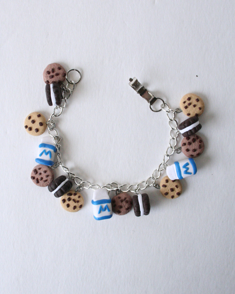 Cookies and Milk Charm Bracelet Polymer clay by DarkRaven17