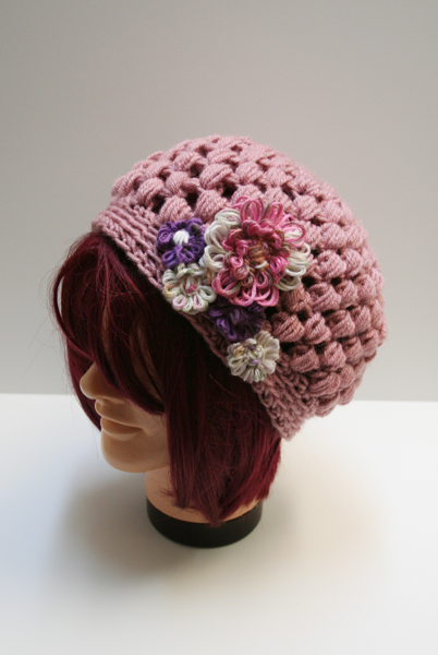 Pink Puff Hat With Flowers by DarkRaven17