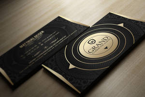 Gold And Black Business Card by MarvelMedia