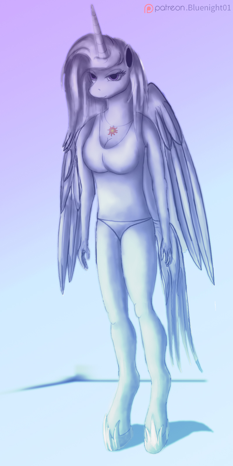 Celestia anthro by Bluenight01