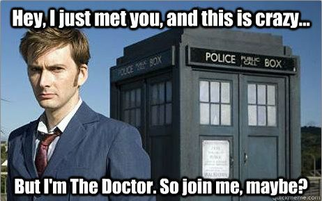 Hey I just met you and this is crazy. Doctor-Who by bluewombatriga