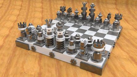 sci-fi metal chess