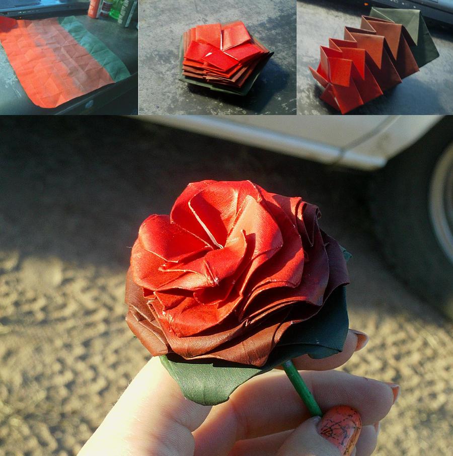 Origami Rose, Burgundy, painted by Miirkaelisaar