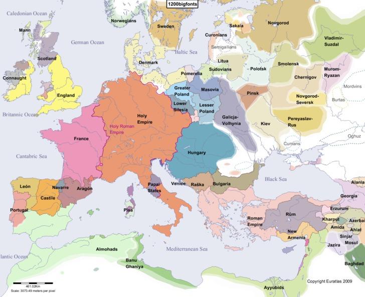 Карта европы во второйполовине ix века