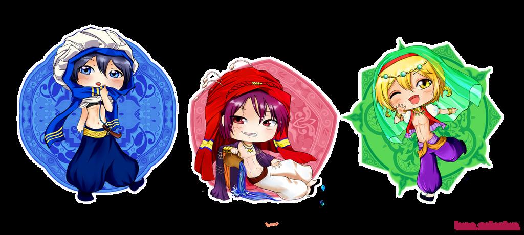 Free! Splash Chibis - Haruka, Rin and Nagisa by LunaSelenium