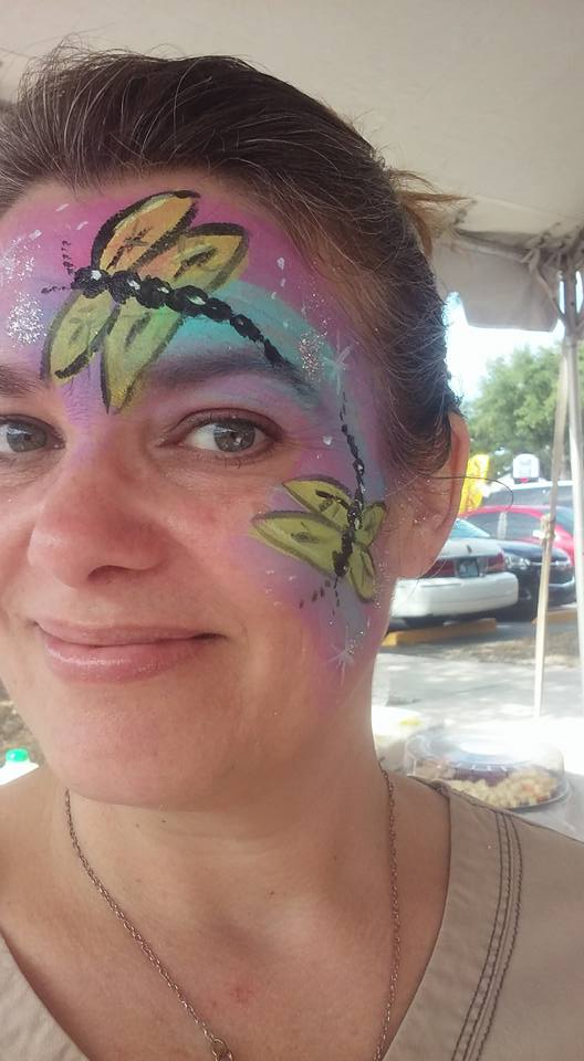 dragonfly face paint by funfacesballoon
