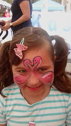 flamingo face paint by funfacesballoon