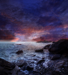 Rocky Beach at Sunset Premade Background STOCK