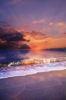 Sunset Beach Premade Background STOCK