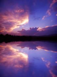 Sunset Lake Premade Background Stock