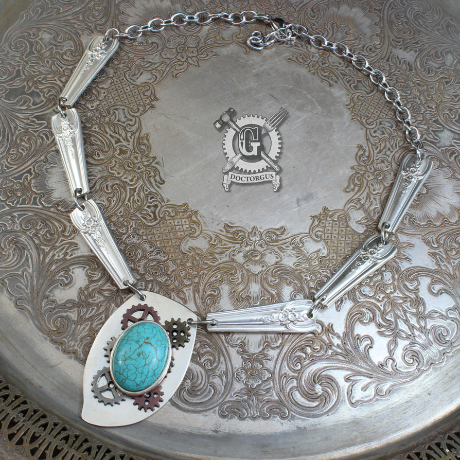 Turquoise Steampunk Spoon Statement Necklace by Doctor-Gus