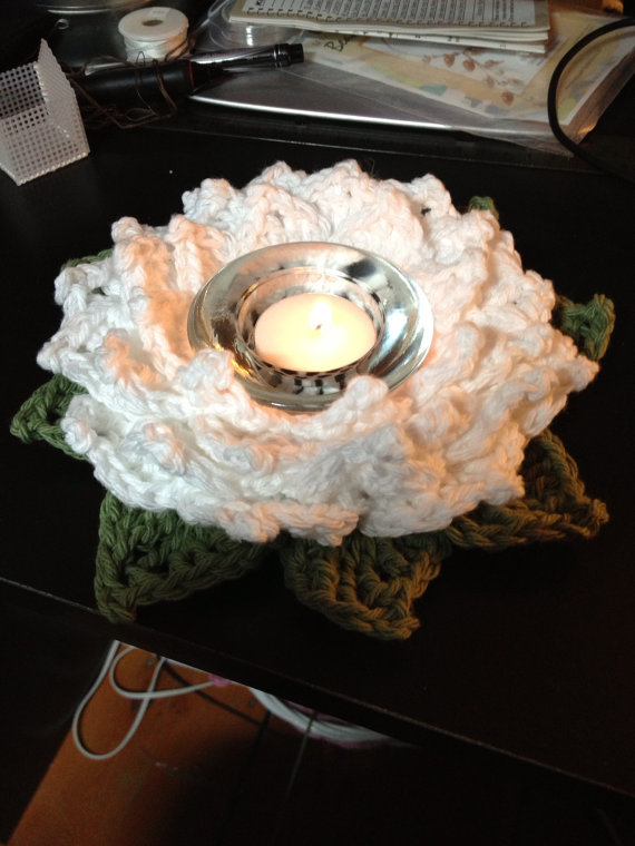 Crochet Lotus Blossom Candle Holder by PsiChan