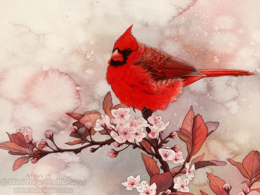 Spring Cardinal by MistiqueStudio