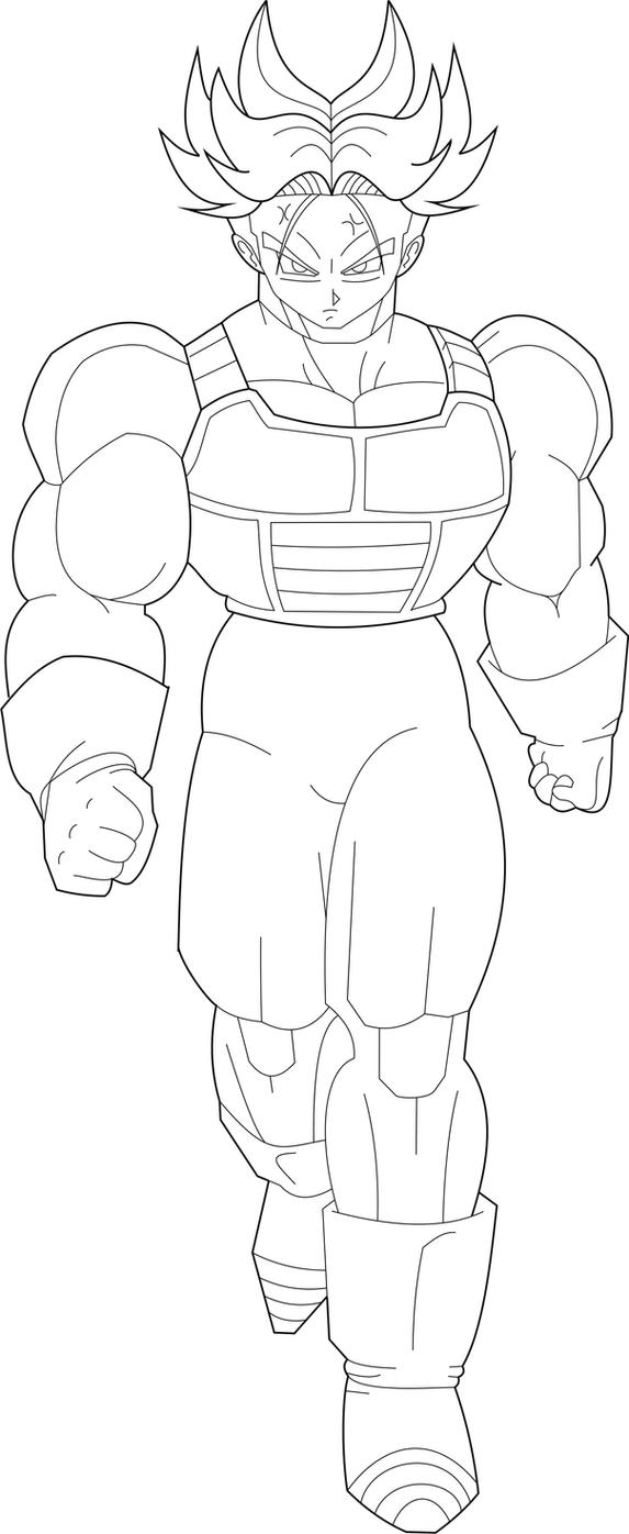 USSJ Trunks (short hair) Lineart by MegamanX-2009