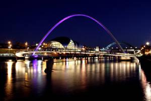 Newcastle gateshead  at night by GailJohnson