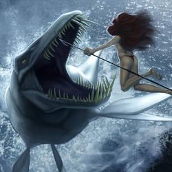 Liopleurodon vs girl by Invasor-Studio