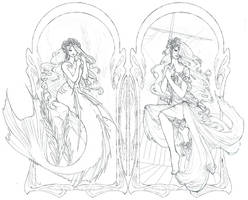 The Little Mermaid lineart by Zephyri
