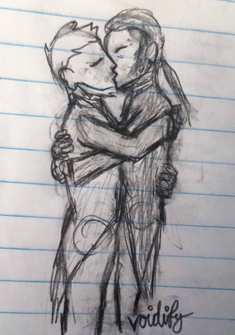 A valvert kiss pencil sketch by voidify