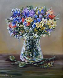 F. in glass vase