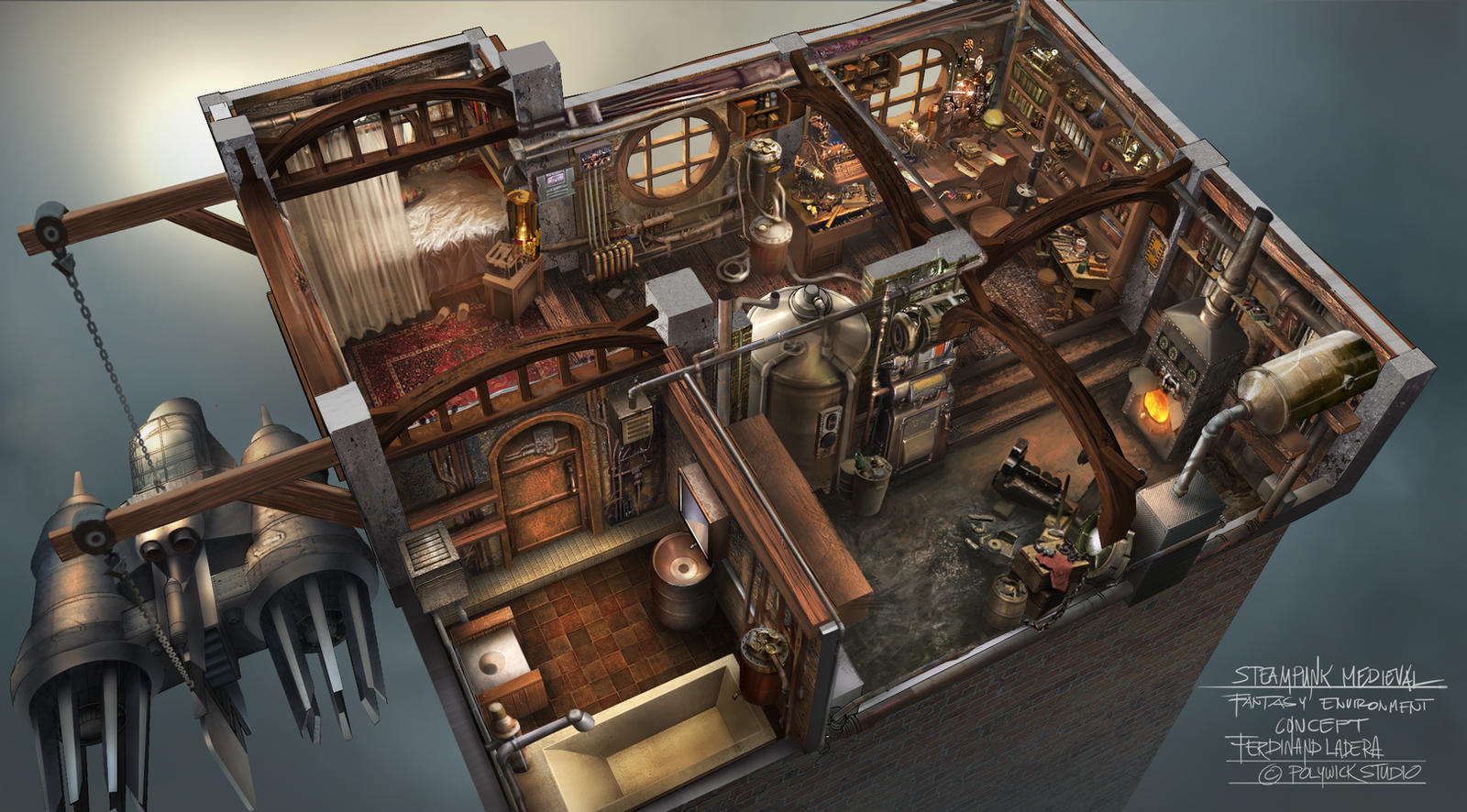 steampunk interior by ferdinandladera on deviantart
